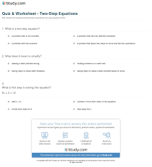 print two step equation definition examples worksheet