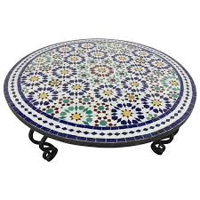 mosaic coffee table fine on dining room inside moroccan round tile iron base for at 1stdibs
