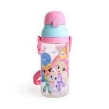 kidztime x children kids toddler bpa cartoon character water bottle with push botton cap fda roved tritan material 530ml sling