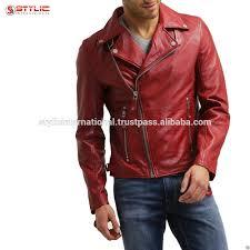 Discount Designer Mens Leather Jackets High Quality New Mens Designer Red Slim Fit Cow Skin Real Leather Jacket Buy Cow Skin Real Leather Jacket Mens Designer Red Slim Fit Jacket High