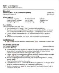 civil engineering resume templates entry level engineering resume