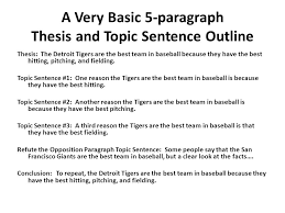 college level theses and topic sentences or how to improve on the  a very basic 5 paragraph thesis and topic sentence outline thesis the detroit tigers