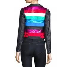 the mighty company stripe rainbow leather jacket the mighty company black multi 0400097494704 oyaqe8ownipvvq