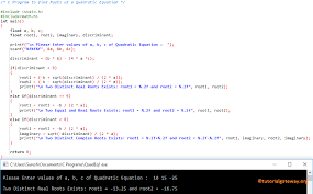 c program to find roots of a quadratic equation 1