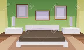 Modernes Grünes Schlafzimmer Interieur Mit Möbeln Cartoon Vektor