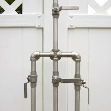 above made of solid stainless steel the maycreek deluxe outdoor shower includes stainless pipes with shut off adapters