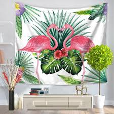 home design diy wall tapestry wonderful tropical leaf flamingo wall hanging tapestry decoracaol table cloth