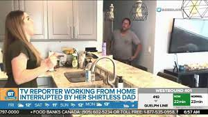 A TV reporter working from home gets interrupted by her shirtless dad -  YouTube