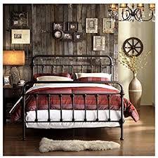 Amazon.com: Metal Bed Frame Queen Size Platform with Vintage ...