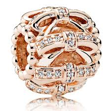 pandora rose gold shimmering sentiments openwork bows charm usj1086 display gallery item 1
