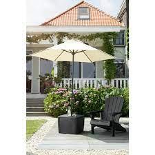 keter patio umbrella base table in