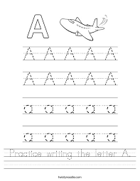 Letter Practicing Practice Writing The Letter A Worksheet Twisty Noodle