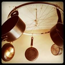 picture of diy bicycle wheel pots and pans rack