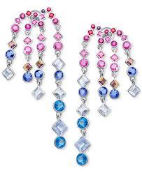 swarovski earrings chandelier silver tone multicolor crystal