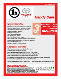 vehicles maintenance records about handy care toyota service and maintenance program
