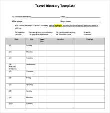 Sample Itinerary Forms Travel Itinerary Template 5 Download Documents In Pdf Word