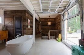 glass garage doors. Glass Garage Door Opens The Bathroom To Outdoors Perfectly Doors