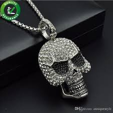 whole iced out chains pendant designer necklace hip hop jewelry mens diamond skeleton skull pendants titanium stainless steel bling punk rapper