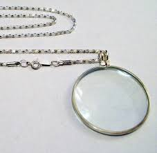 magnify glass pendant necklace silver
