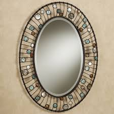 bathroom vanity mirror oval. Mirrors For Bathrooms Ideas Hung On Cream Wall With Oval Shaped Mirror Combined Metal Frame And Colorful Round Ornaments Bathroom Vanity S