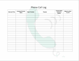 Free Call Log Template Phone Sheet Telephone Scsllc Co