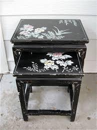 diy lacquer furniture. Pr. Vintage 1940-1950s Japanese Asian Black Lacquer Floral Carved Wood Nesting Side Tables. Diy FurniturePainting Furniture