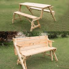 outsunny 2 in 1 interchangable wooden picnic table garden bench patio furniture