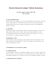 Gl Tables Summary
