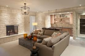 inspiring ideas for basement decoration featuring stacked stone wall