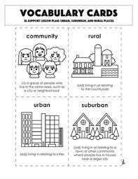 Urban Suburban Rural Vocabulary Cards Urban Suburban And Rural Places Worksheet