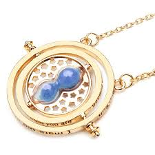 time turner rotating hourglass pendant necklace gold silver plated color blue