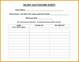 Sample Bid Sheets For Silent Auction Construction Spec Sheet Template Awesome Sample Silent Auction Bid