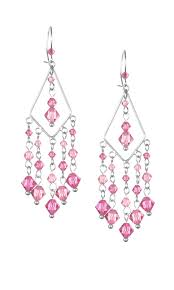 earrings with pink swarovski crystal beads and diamond shaped sterling silver drop with loops
