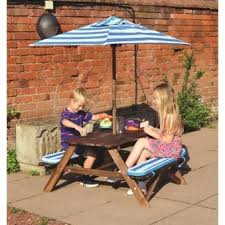 Kids Outdoor Table Kids Picnic Table With Umbrella  Blue Striped Childrens Outdoor Furniture With Umbrella