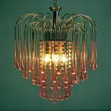 glass teardrops for chandeliers pink crystal teardrop waterfall chandelier by mid century pink crystal teardrop chandelier