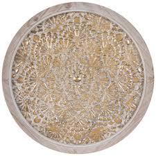 whitewash gold round metal wall decor