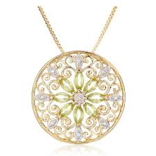 18k yellow gold plated sterling silver gemstone diamond accent filigree medallion pendant