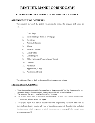 Format For Preparation Of Project Report Edit Fill Sign
