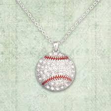 baseball crystal stone necklace