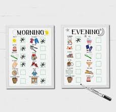 Kids Schedule Morning And Evening Routine For Boys And Girls Checklist Dry Erase Chart Learning And Communication