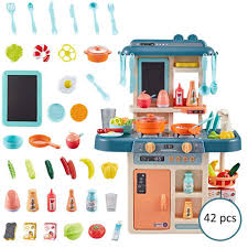 Toy Kitchen With Lights And Sound Ceepko Toys Kitchen Playset Simulation Kitchen Toy Spray Water Tableware Kids Kitchen Toys Kitchen Cooking Set Fruit Vegetable Tea Playset Toy For