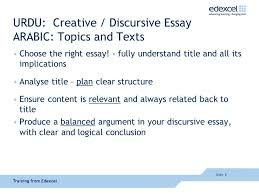 achieving success in urdu and arabic ppt  urdu creative discursive essay arabic topics and texts