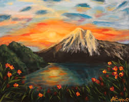 images for sunset mountains painting