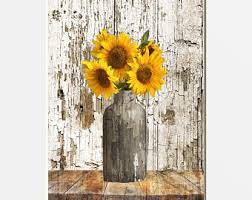 Image Wall Art Rustic Sunflower Decor Rustic Home Decor Farmhouse Wall Art Country Kitchen Home Decor Matted Picture Etsy Sunflower Home Decor Etsy
