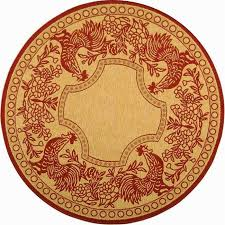 safavieh indoor outdoor rooster natural red rug 5393