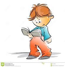 cute little boy reading a book
