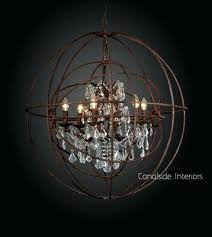 orb crystal chandelier iron in stock foucaults large