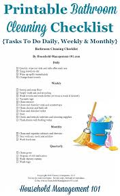 Bathroom Cleaning Checklist - List For Cleaning The Bathroom Daily, Weekly  And Monthly