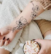 Temporary Tattoo Buy Chinese Rose And Sakura Black And White