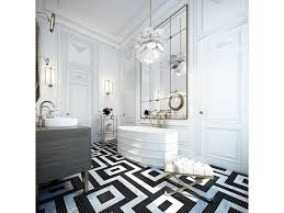 white bathroom floor: bold lines and high contrast inform this white bathroom faded gold metals sprinkle throughout the